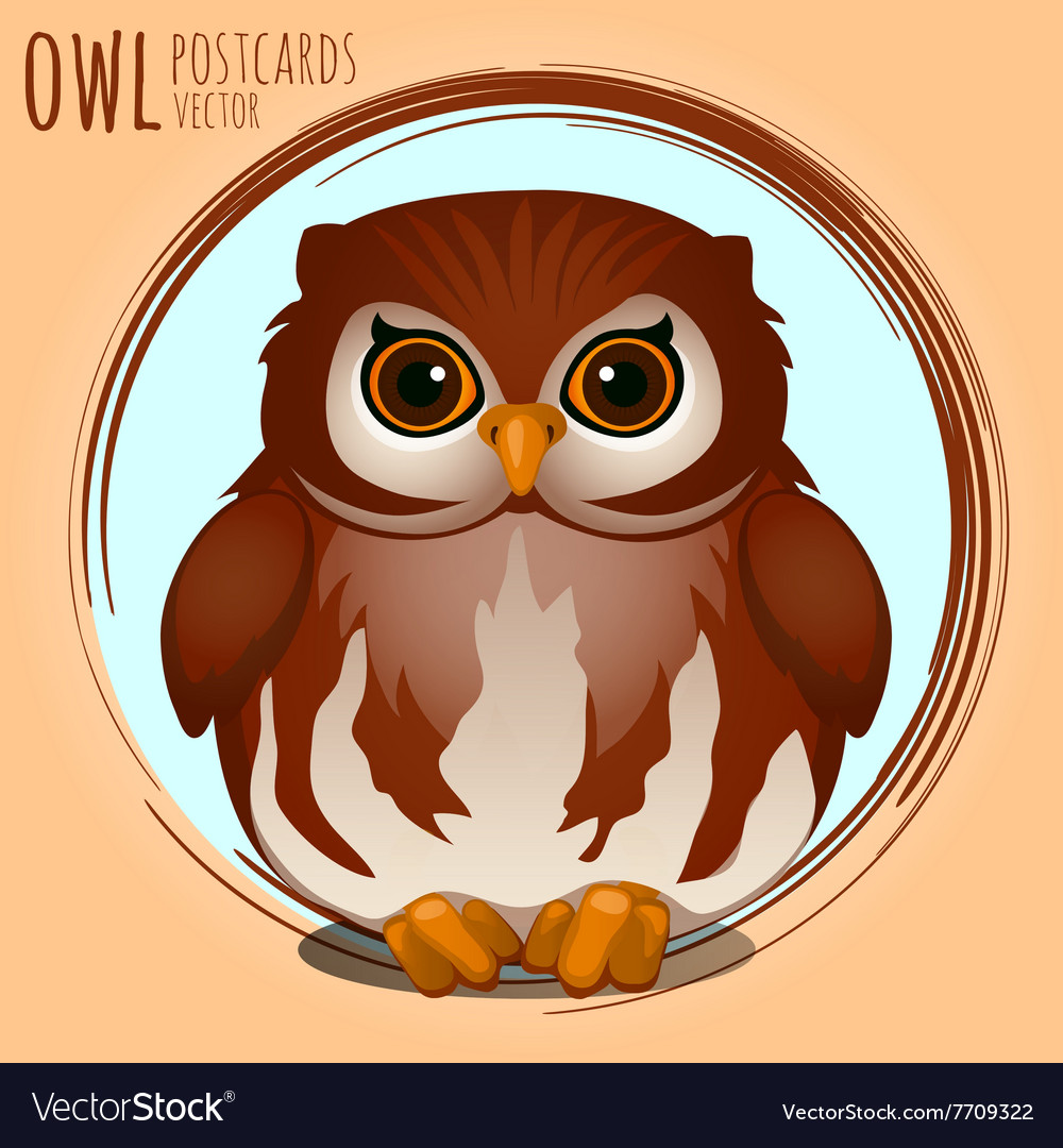 Shubby brown owl cartoon series vector
