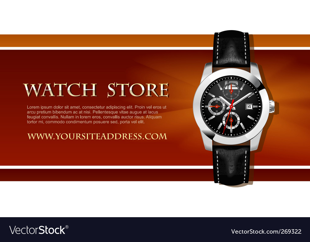 Watch store business card vector
