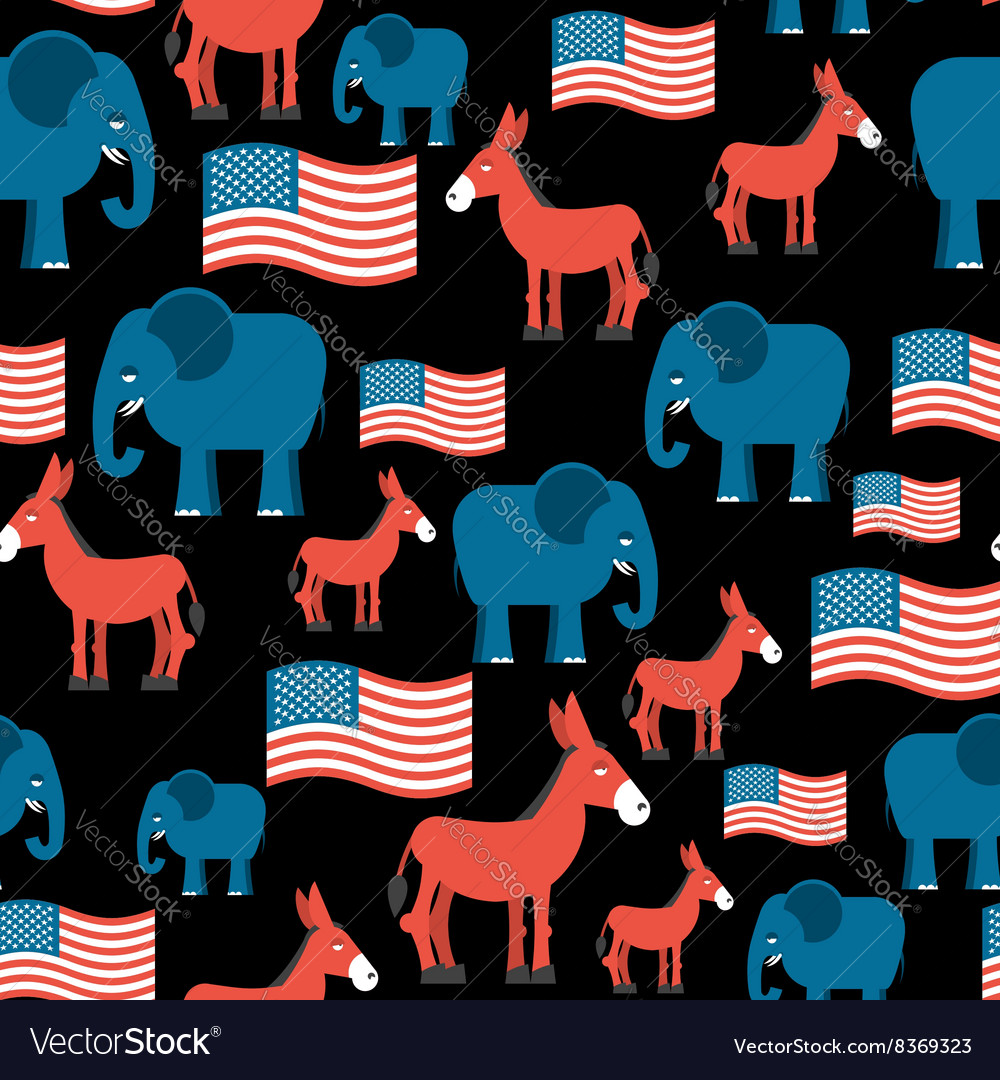 Elephant and donkey seamless pattern symbols of vector