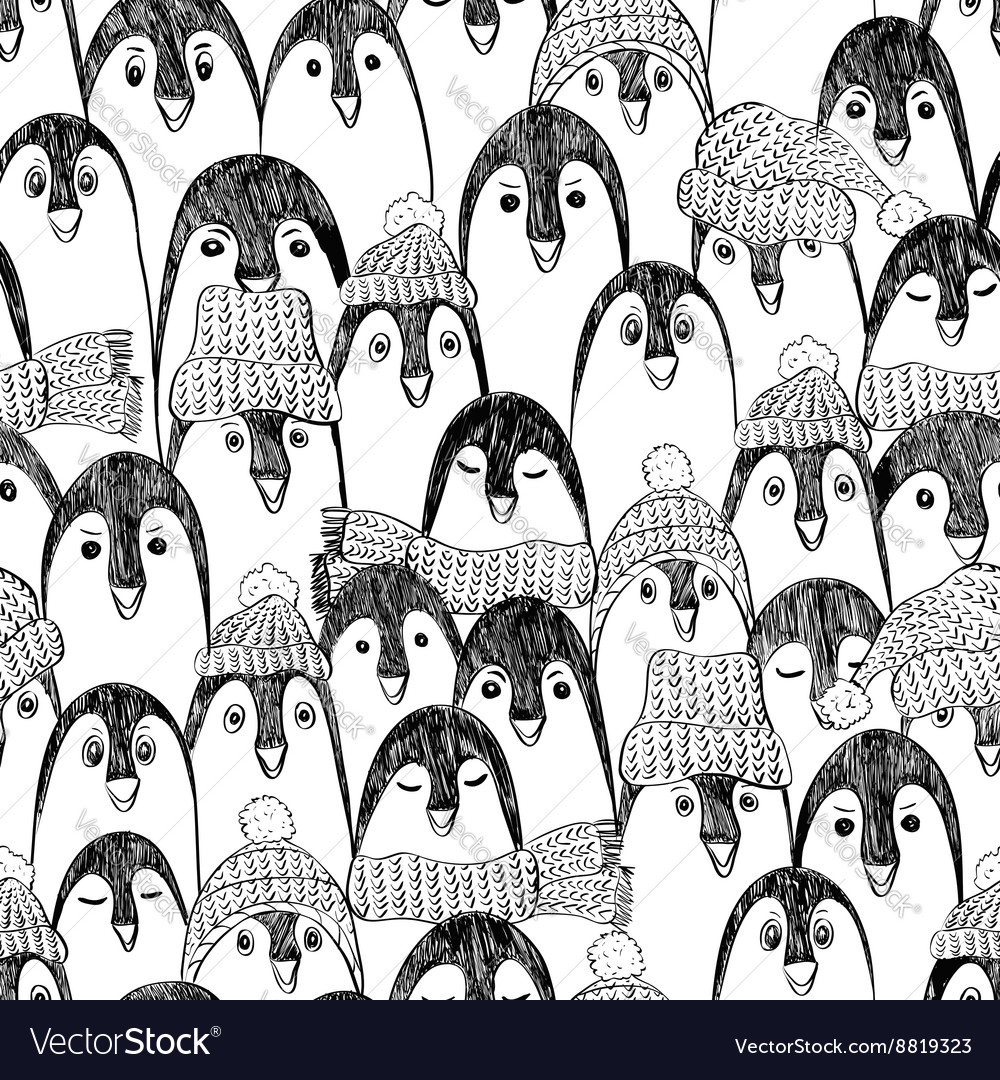 Graphic seamless pattern with penguins vector