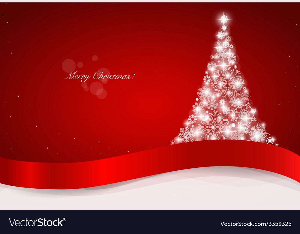 Christmas greeting card with christmas tree vector