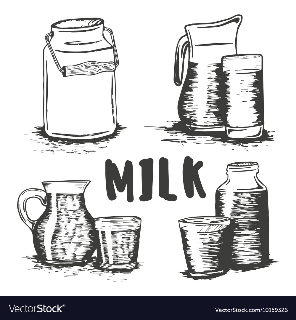 Set of hand drawn milk glass sketch vector