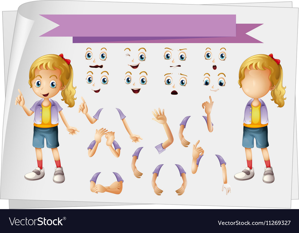Girl and different set of faces vector