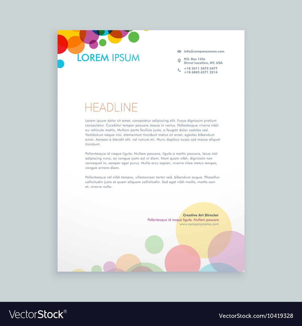 Creative colorful circles letterhead design vector