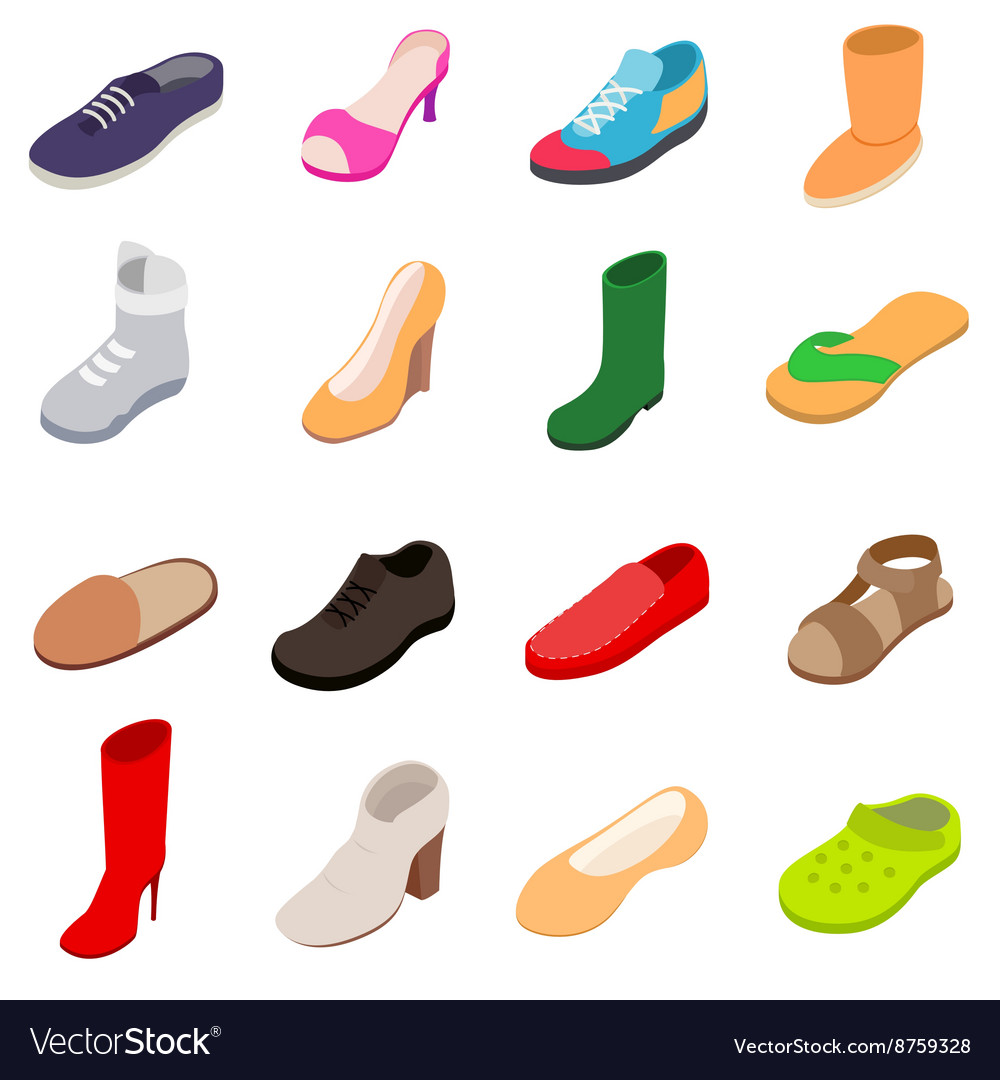 Shoes icons set isometric 3d style vector
