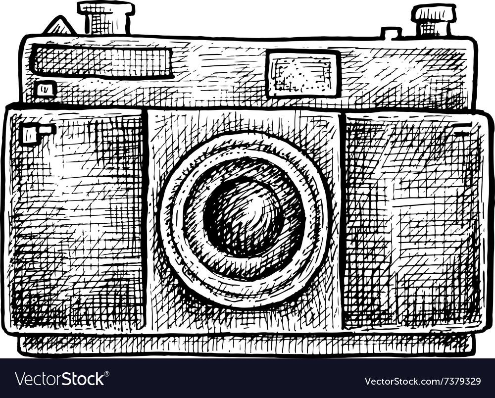 Black and white ink hand drawn camera vector