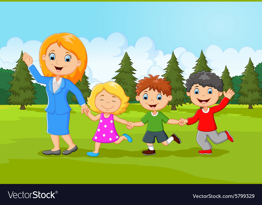 Cartoon happy family in the forest vector