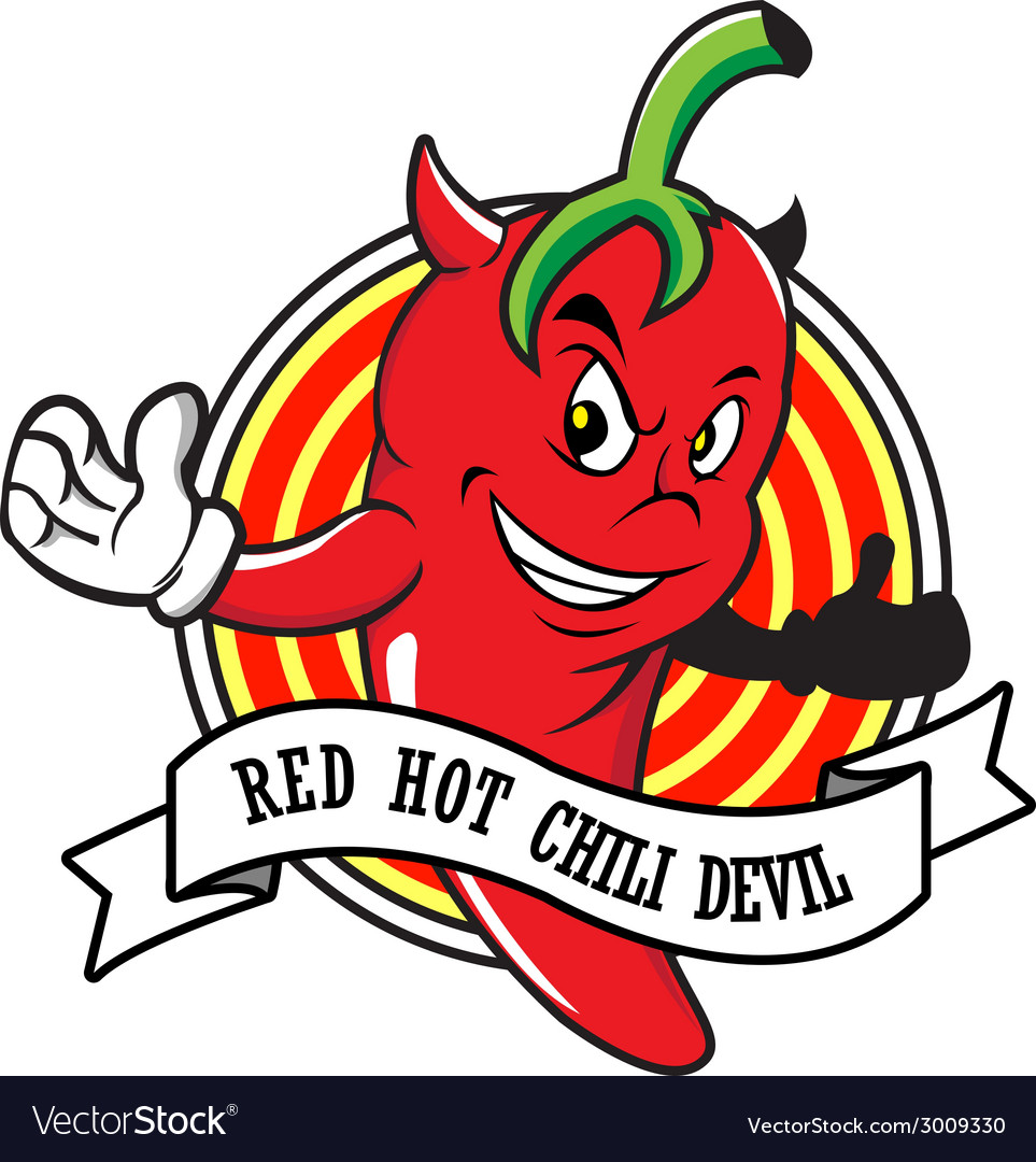 Red hot chili devil cartoon vector