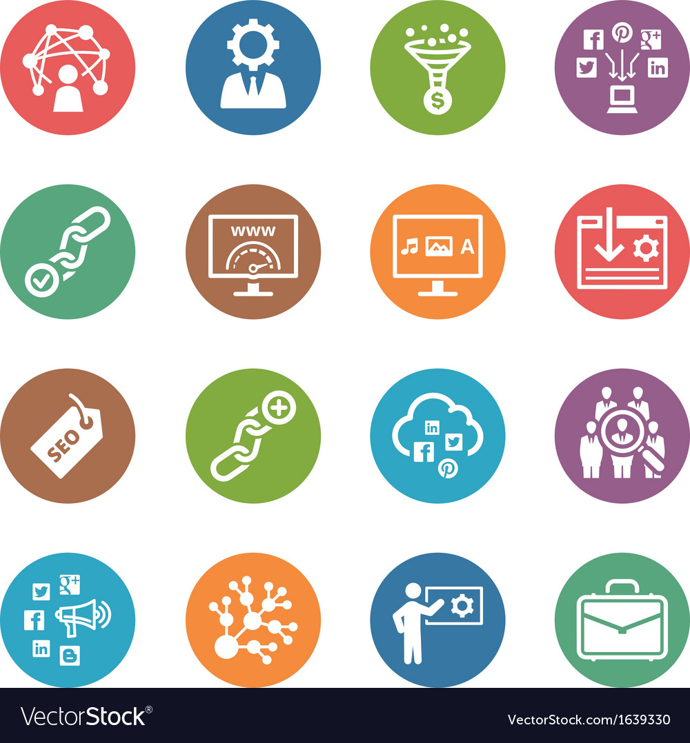 Seo internet marketing icons set 2  dot series vector
