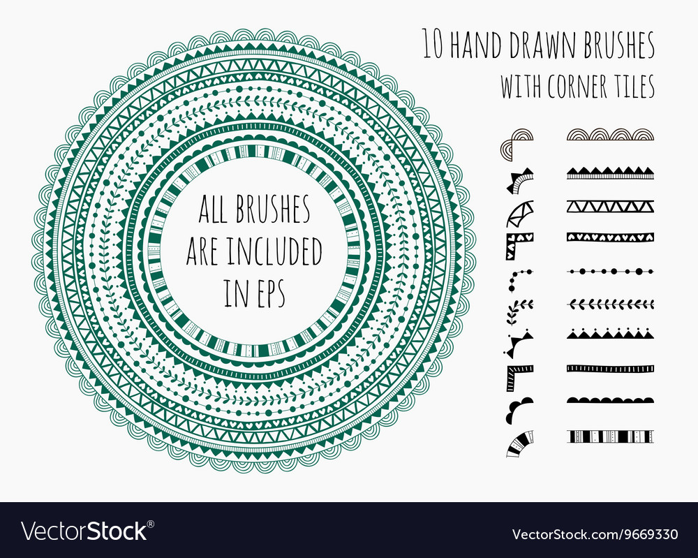 Set of ten hand drawn brushes vector