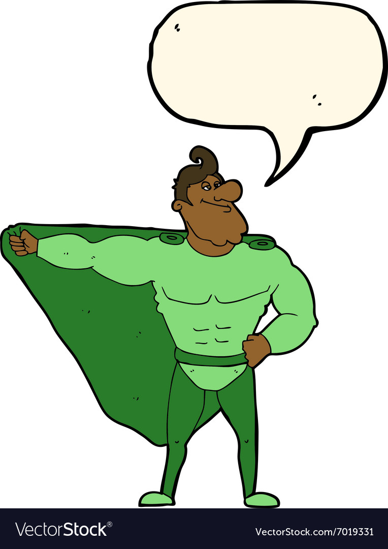 Funny cartoon superhero with speech bubble vector