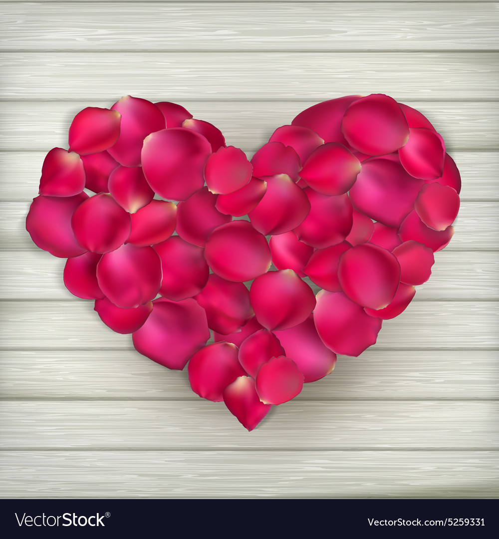 Heart made from rose petals eps 10 vector