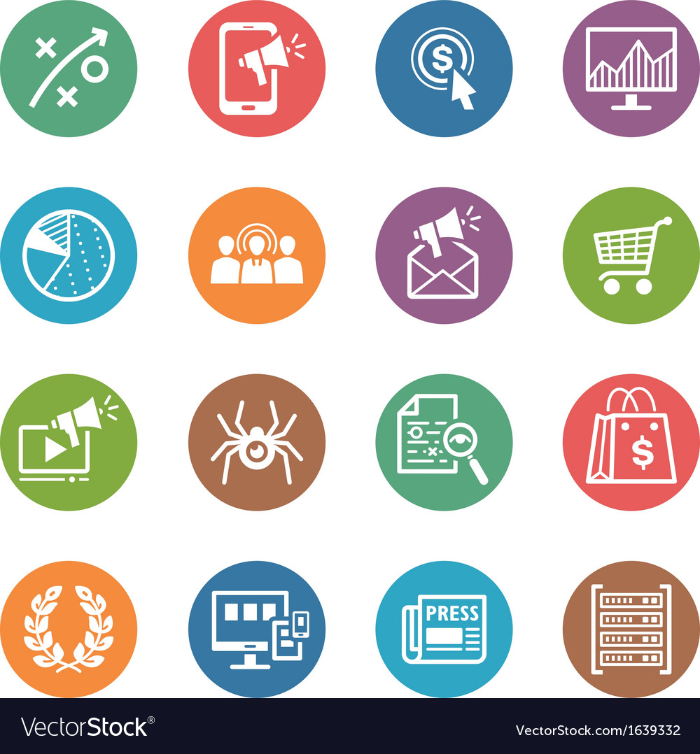 Seo internet marketing icons set 3  dot series vector