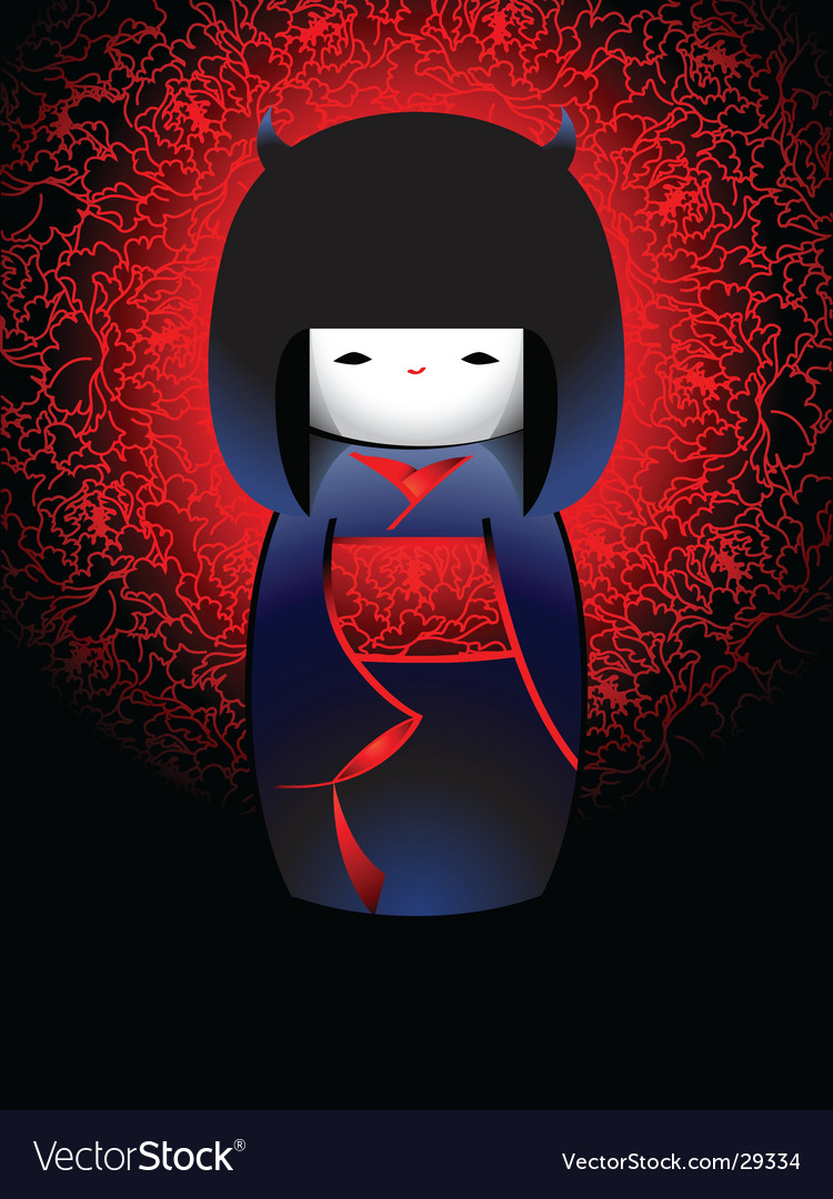 Demonic japanese doll vector