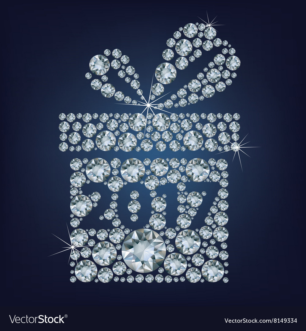 Gift present with 2017 made up a lot of diamonds vector