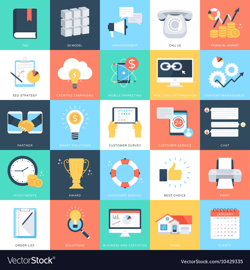 Business concepts icons 4 vector