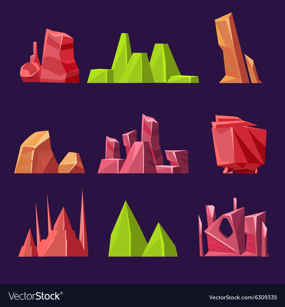 Set of cartoon stones and minerals for vector