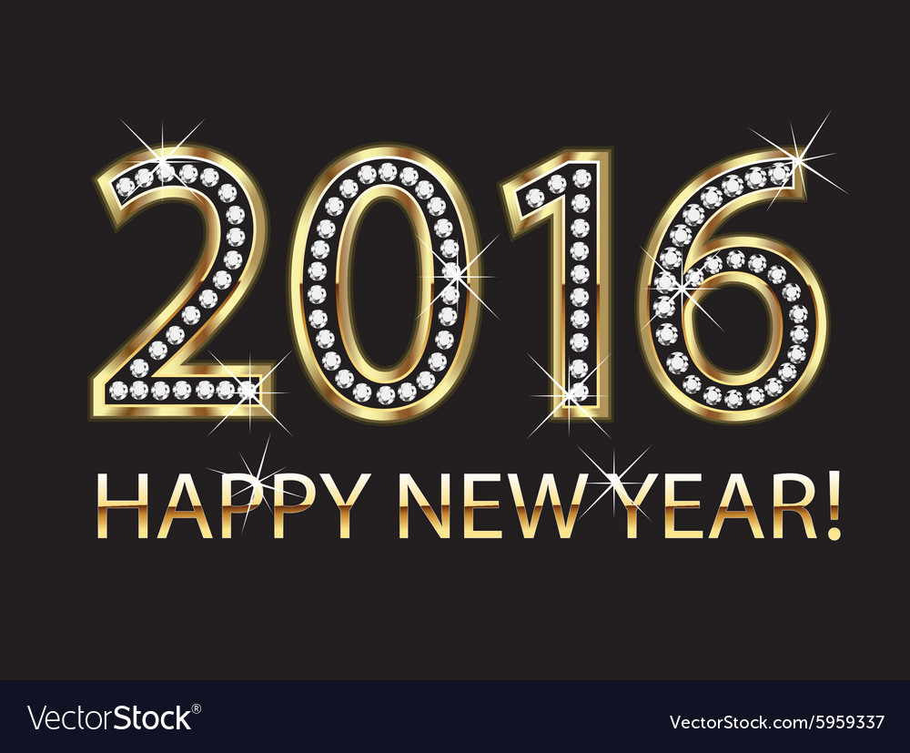 2016 happy new year in gold and diamonds vector