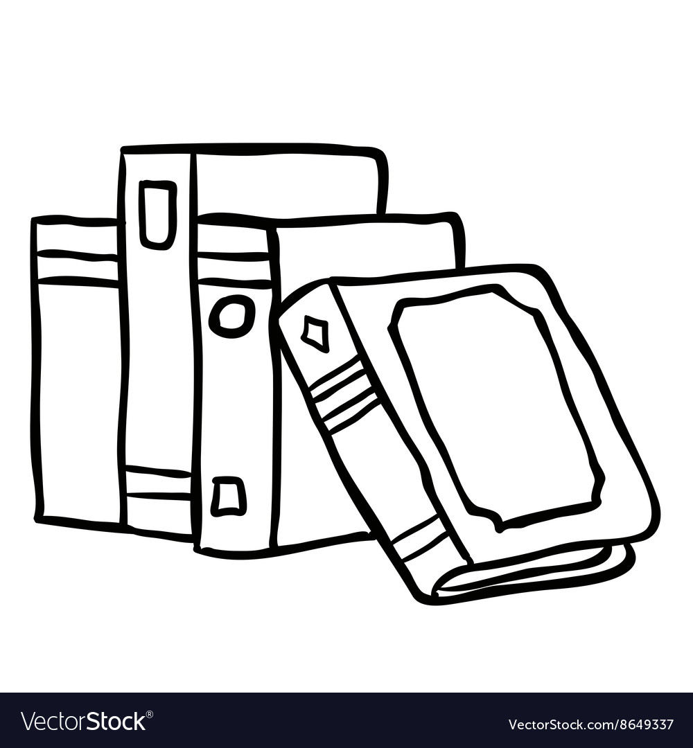 Black and white books vector