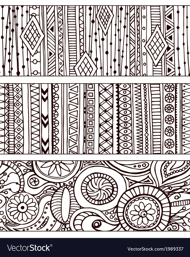 Set of unique seamless pattern and borders ethnic vector