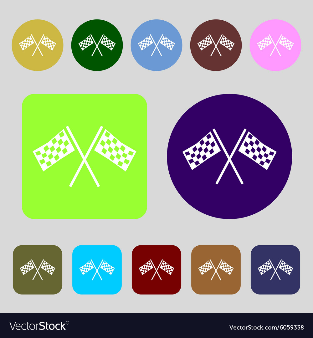 Race flag finish icon sign 12 colored buttons flat vector