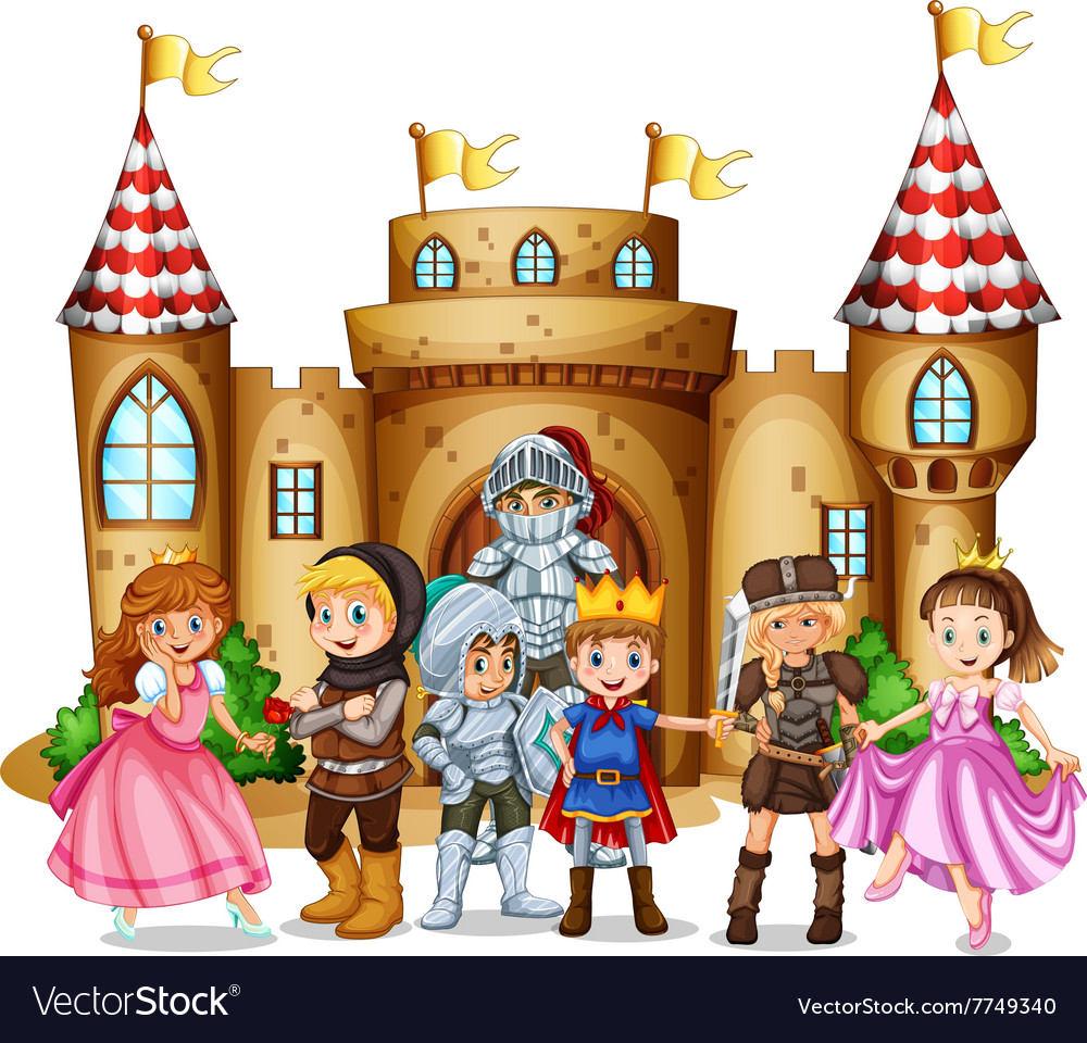 Characters from fairytales and castle vector