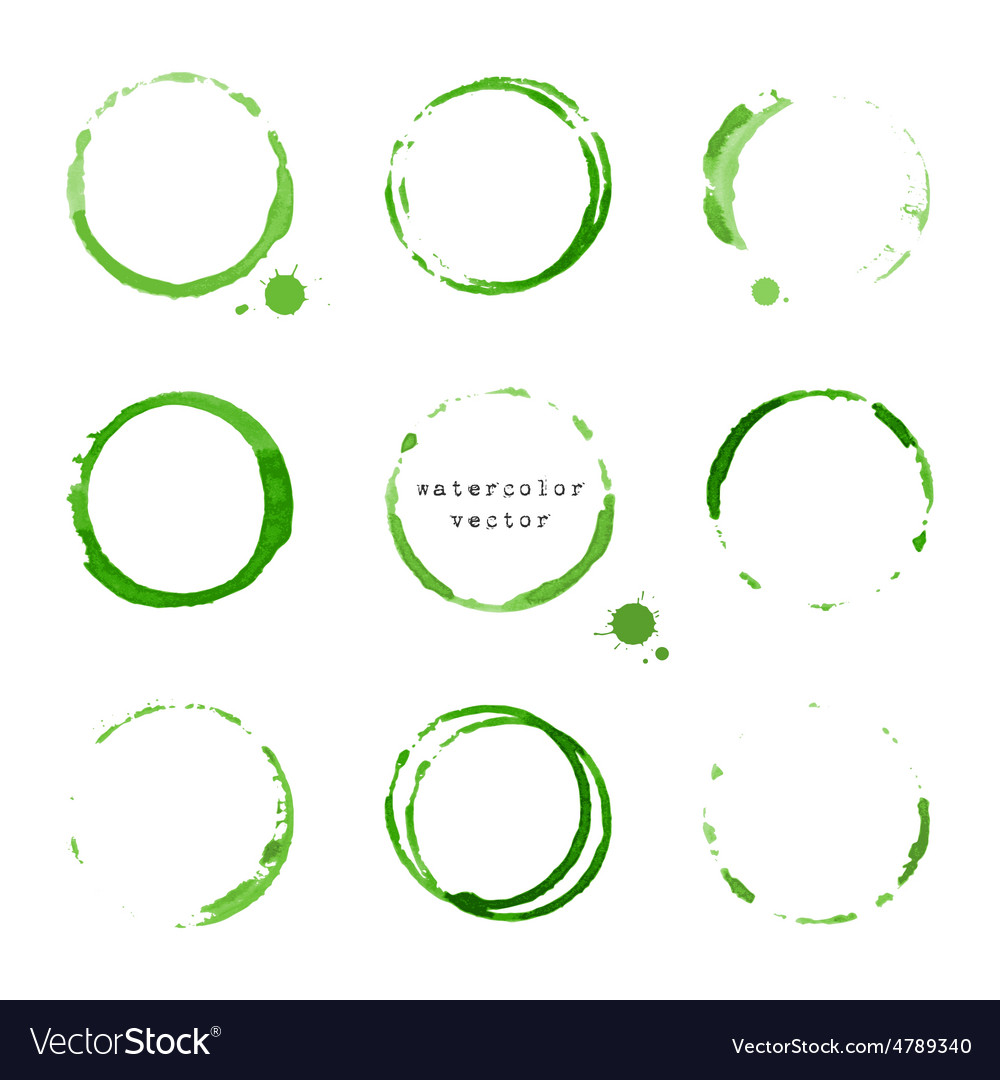 Watercolor round stains and blots vector