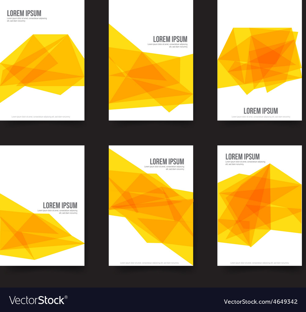 Abstract background set of simple yellow polygonal vector