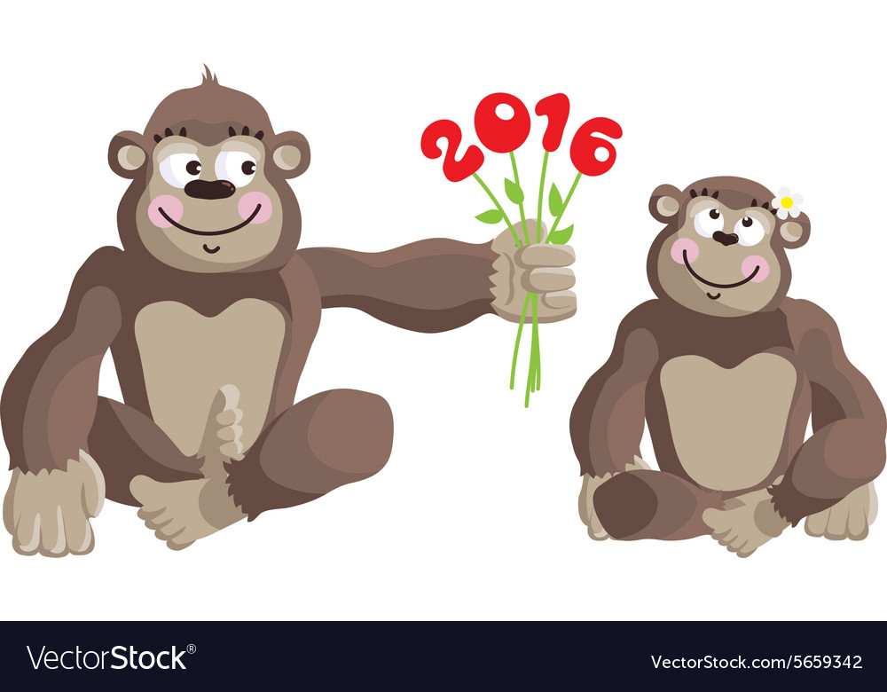 Postcard year of the monkey 2016 vector