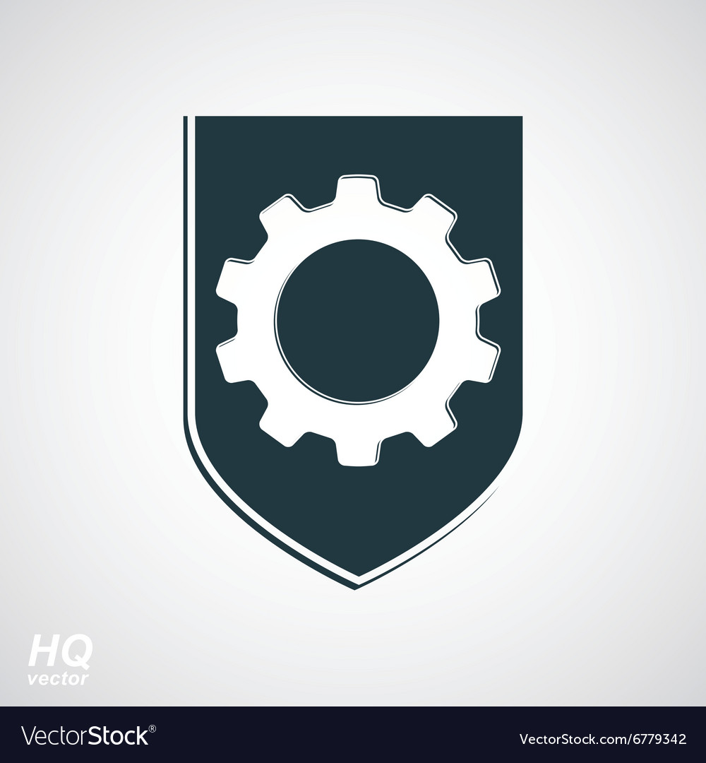 Shield with gear graphic vector