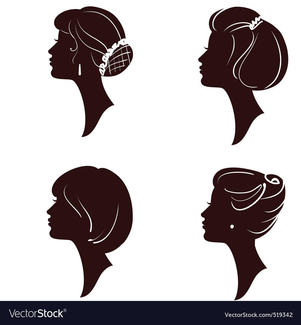 Women and girl silhouettes vector