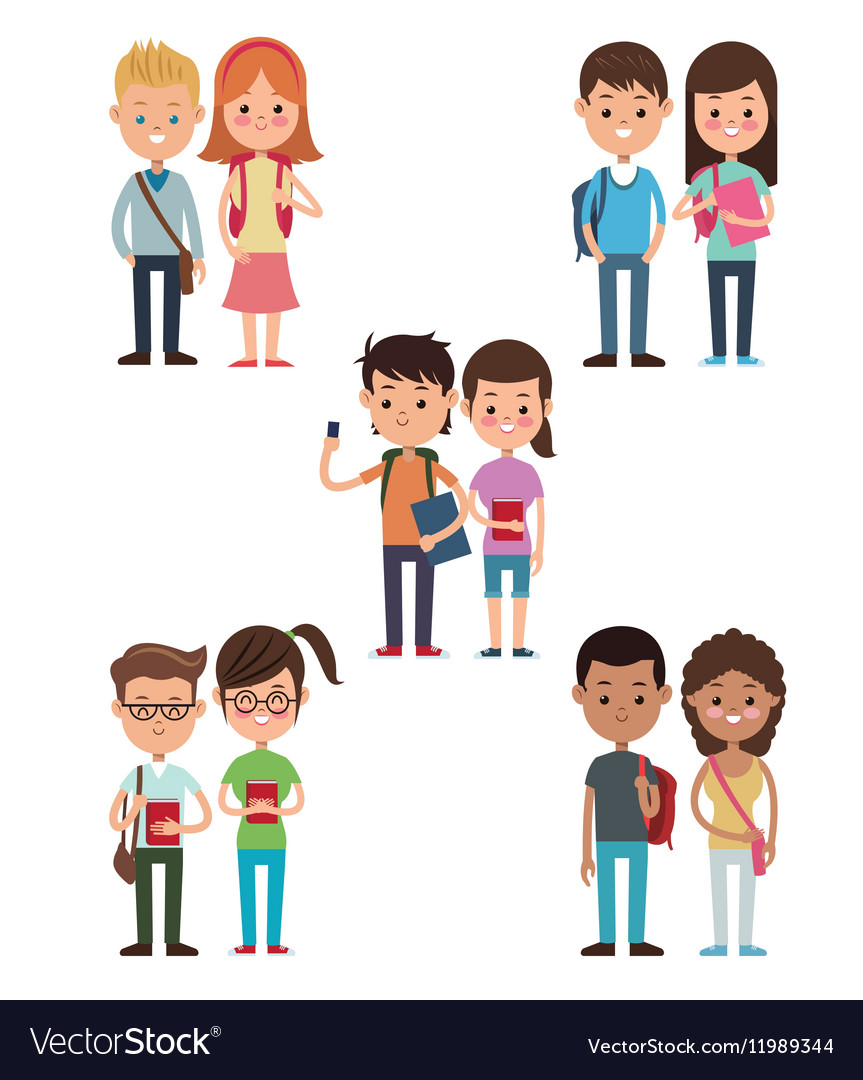 Back to school collection couples students design vector