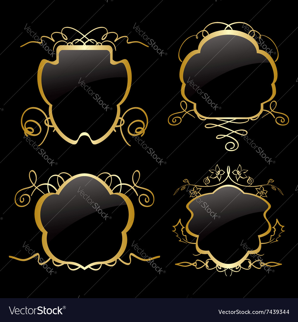 Gold frames with gold decorations  set vector