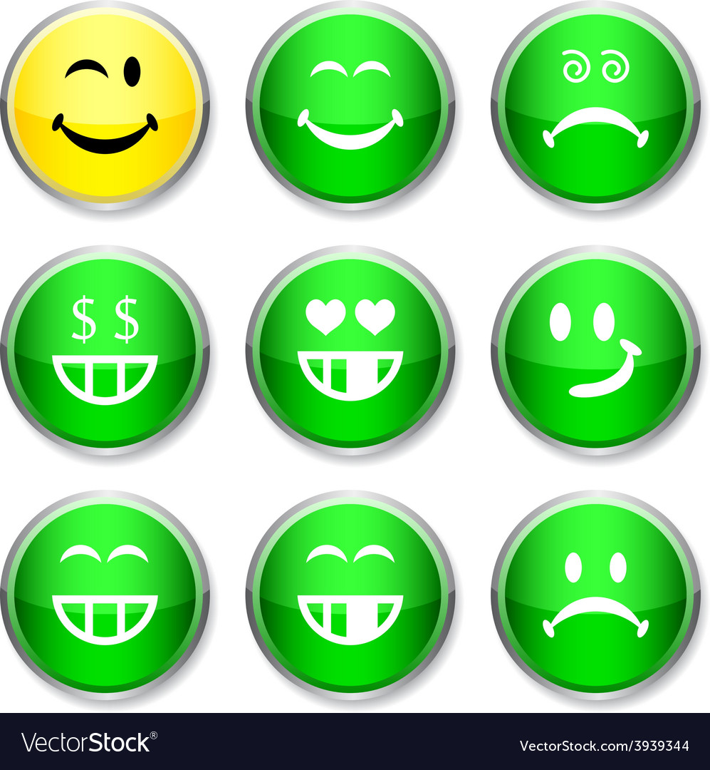Smiley round icons vector