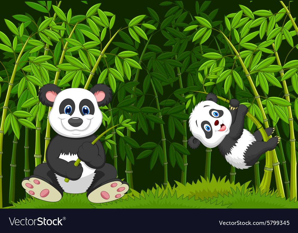 Cartoon mom and baby panda in the climbing bamboo vector