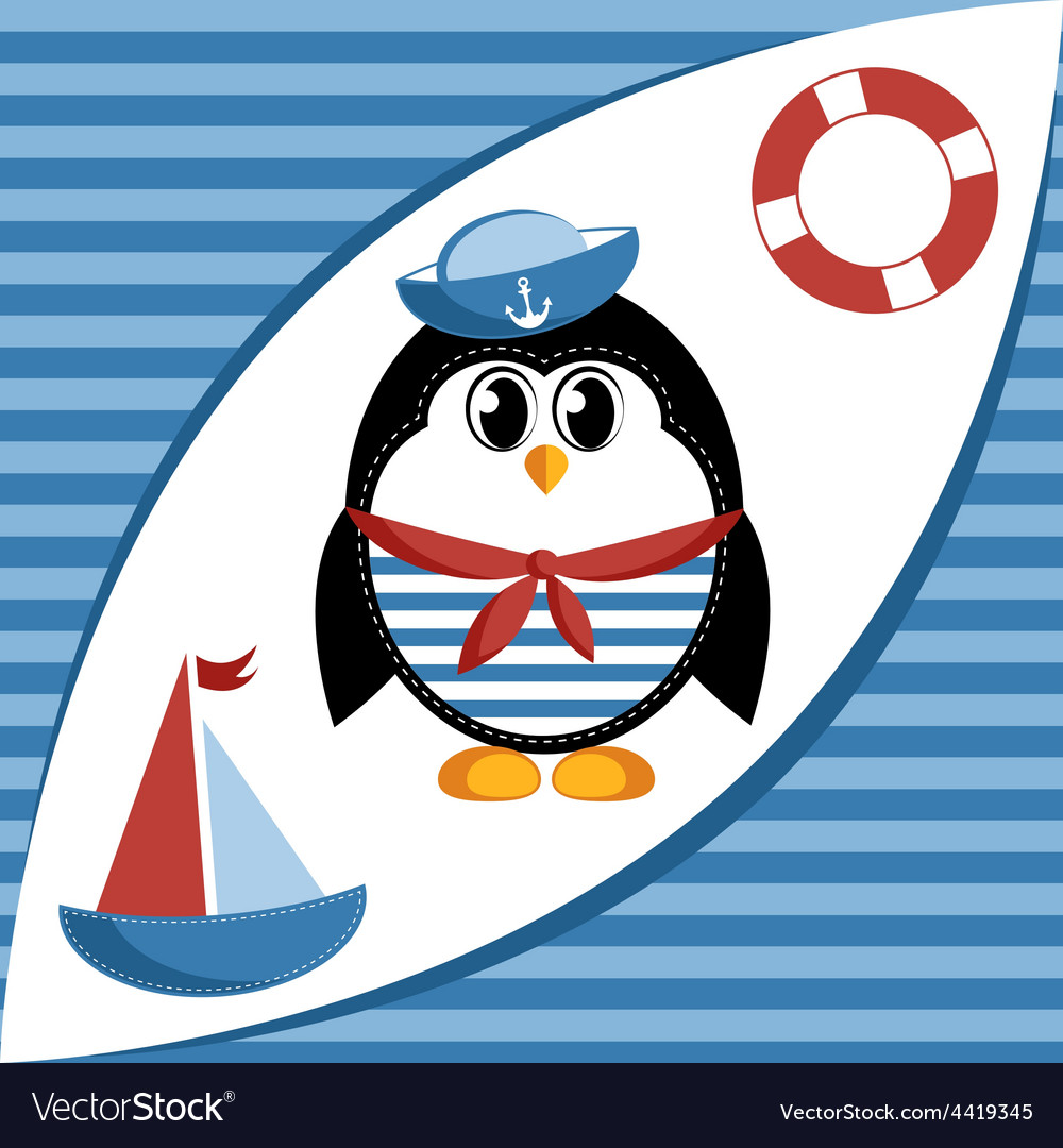 Cartoon sailor penguin vector