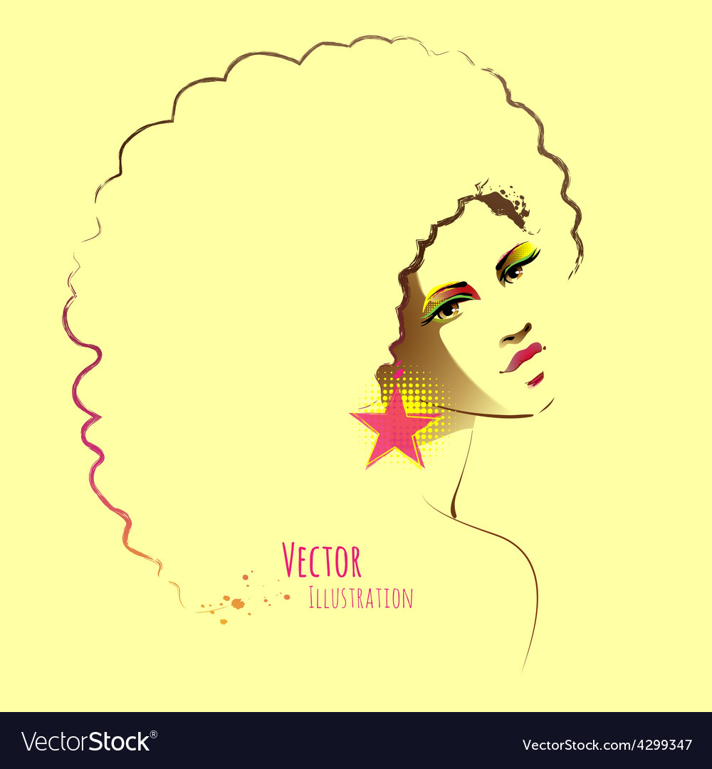 Disco girl with afro hairstyle vector