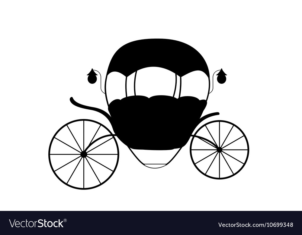 Black and white cinderella fairytale carriage vector