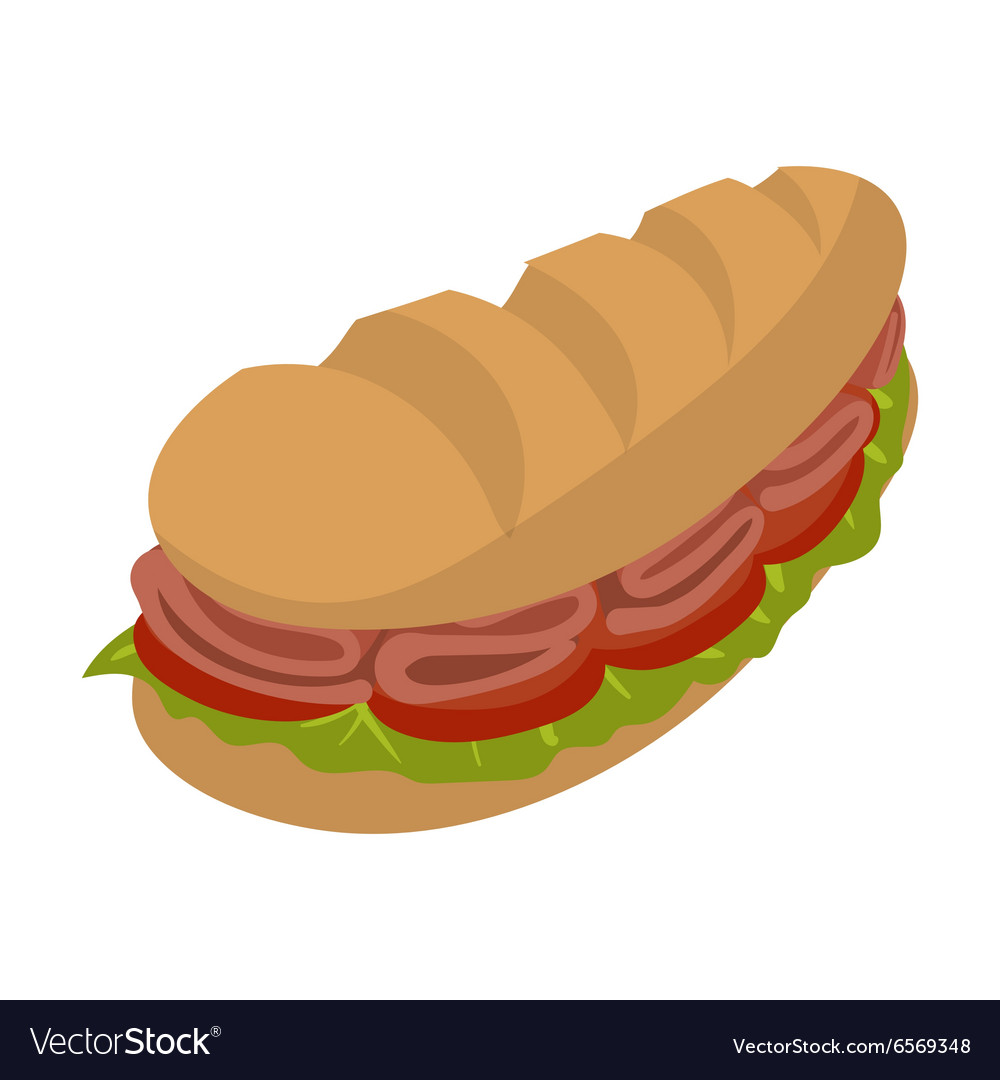 Cartoon submarine sandwich vector