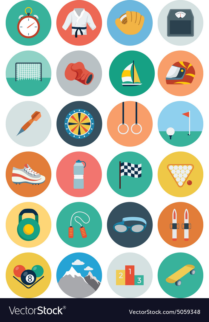 Flat sports flat icons 2 vector