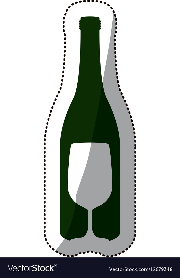 Sticker silhouette bottle wine and goblet vector