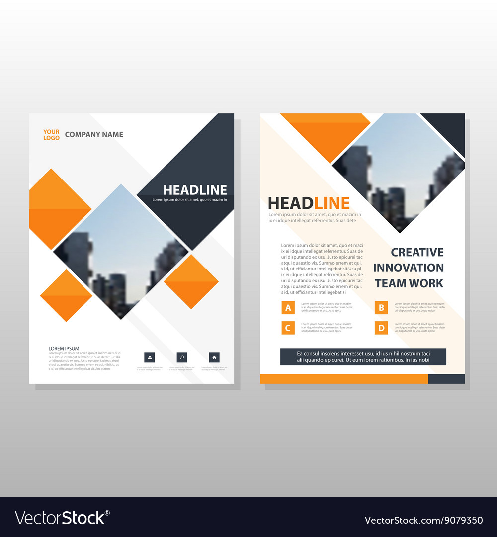 Orange square brochure flyer leaflet template vector
