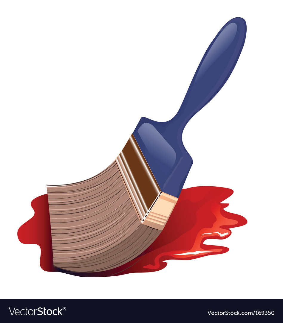 Paintbrush icon and red color vector