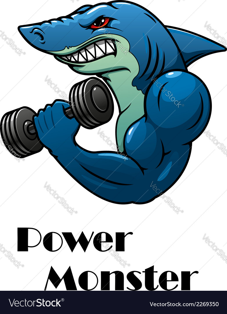 Shark athlete with dumbbells vector