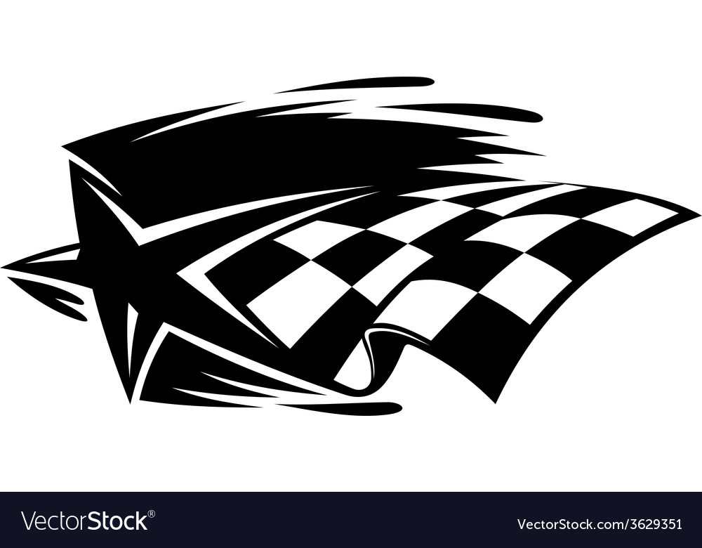 Motor sport icon with a star and checkered flag vector