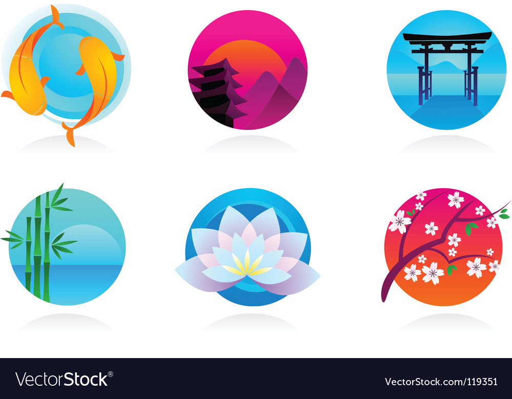 Zen and yoga logos vector