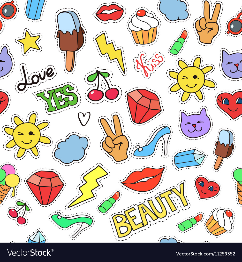 Seamless background stickers pins patches vector