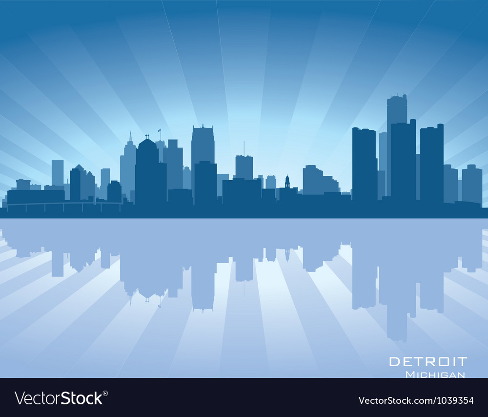 Detroit michigan skyline vector