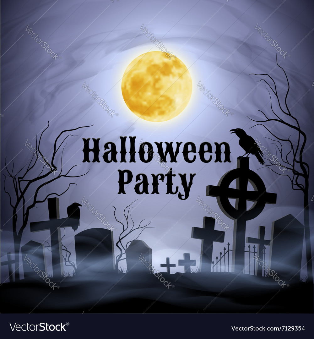 Halloween party on a spooky graveyard under full m vector