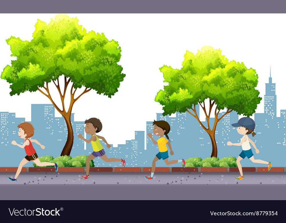 People jogging in the park vector